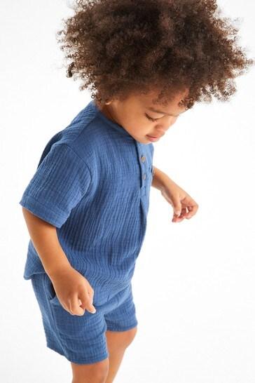Blue Soft Double Cloth Shirt And Shorts Set (3mths-7yrs)