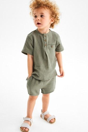 Khaki Soft Double Cloth Shirt And Shorts Set (3mths-7yrs)