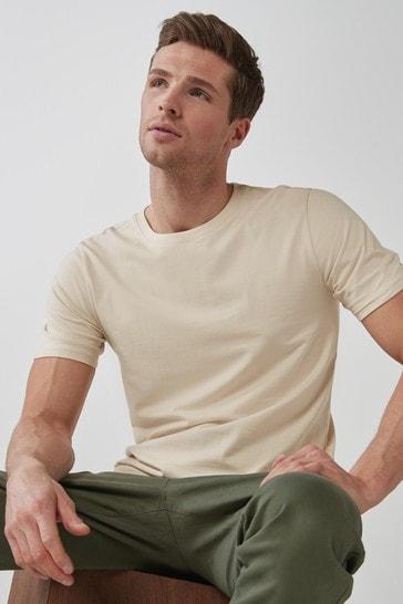 Ecru Slim Fit Crew Neck T-Shirt