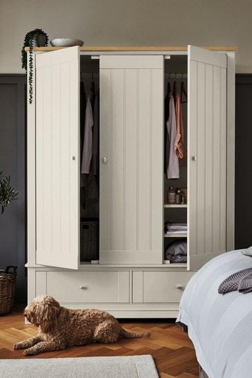 Hampton Country Luxe Painted Oak Triple Wardrobe