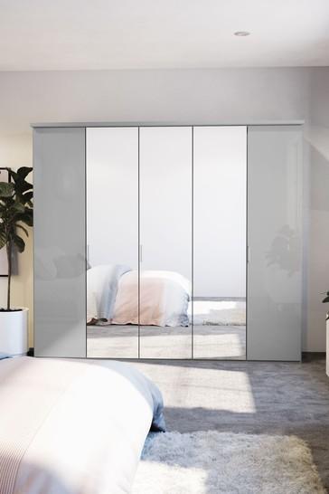 Peyton 2.5M Glass Hinged 5 Door Wardrobe