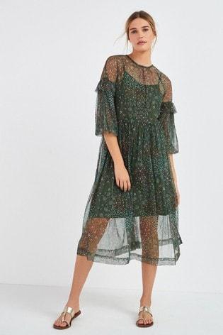 Khaki Embellished Mesh Dress