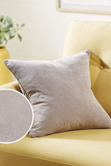 Silver Grey Soft Velour Small Square Cushion