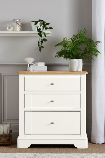 Hampton Country Luxe Painted Oak 3 Drawer Chest