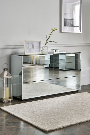 Sloane Mirrored 6 Drawer Wide Chest