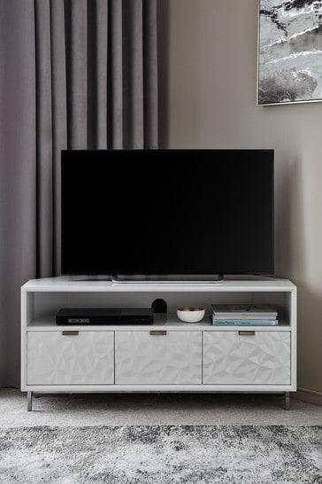 Mode White Gloss Textured Corner TV Stand