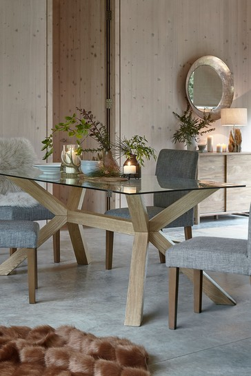 Oak & Glass 6 Seater Dining Table