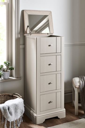 Hampton Country Luxe Painted Oak 4 Drawer Jewellery Chest