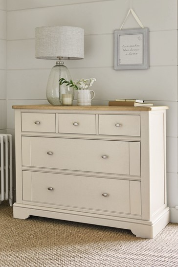 Hampton Country Luxe Painted Oak 5 Drawer Multi Chest