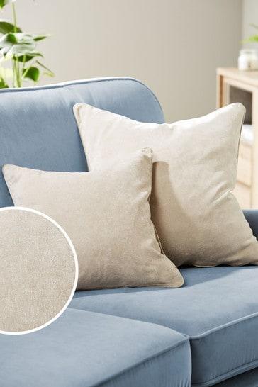 Stone Soft Velour Large Square Cushion