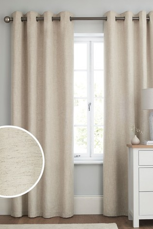 Natural Linen Look Eyelet Lined Curtains