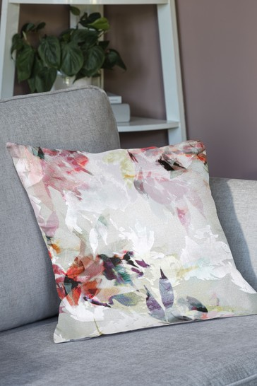 Pink Cut Velvet Nordic Floral Cushion