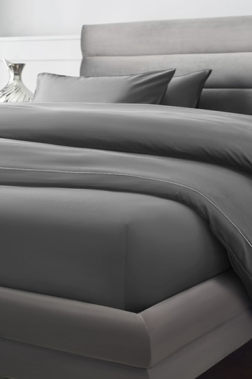 Charcoal Grey 300 Thread Count Collection Luxe Deep Fitted 100% Cotton Fitted Sheet