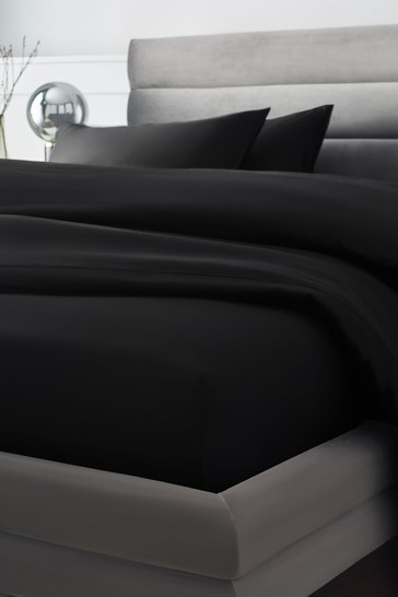 Black 300 Thread Count Collection Luxe Deep Fitted 100% Cotton Fitted Sheet