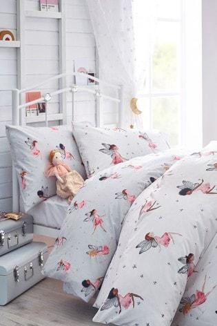 2 Pack White 100% Cotton Fairy Duvet Cover And Pillowcase Set