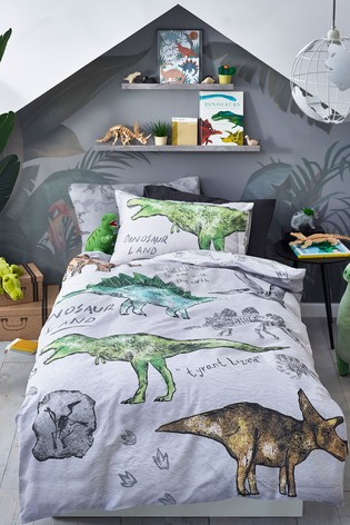 Grey 100% Cotton Dino Land Reversible Duvet Cover and Pillowcase Set