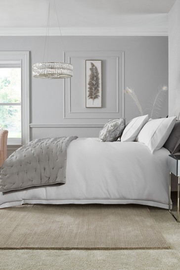 White/Silver 600 Thread Count 100% Cotton Sateen Collection Luxe Duvet Cover And Pillowcase Set