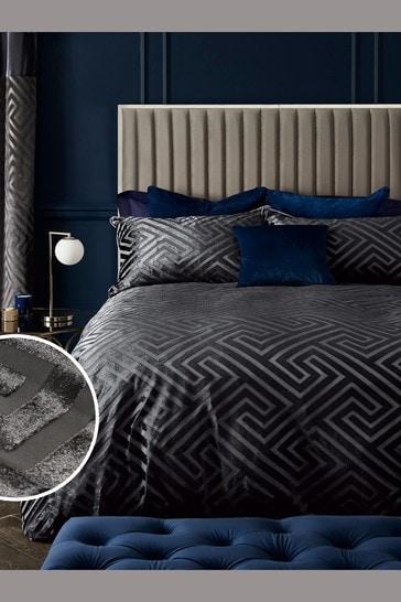 Charcoal Velvet Devoré Geometric Duvet Cover and Pillowcase Set