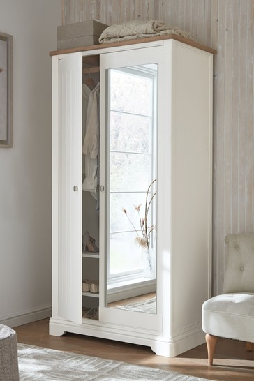 Hampton Country Luxe Painted Oak Double Wardrobe with Mirror