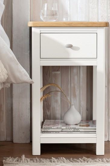 Hampton Country Luxe Painted Oak Slim 1 Drawer Bedside Table