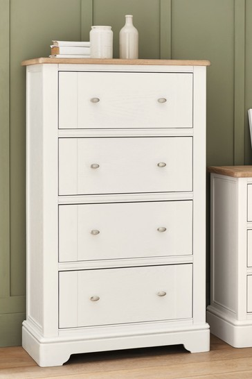 Hampton Country Luxe Painted Oak 4 Drawer Chest