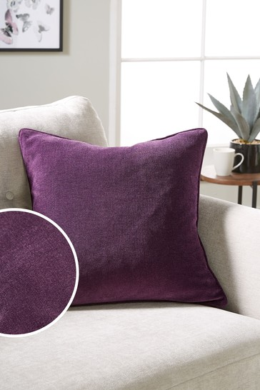 Plum Purple Soft Velour Small Square Cushion