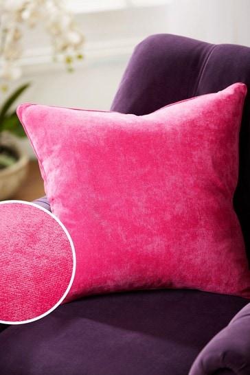 Fuchsia Pink Soft Velour Small Square Cushion