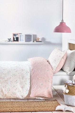Ditsy Stars Organic Cotton Reversible Duvet Cover And Pillowcase Set