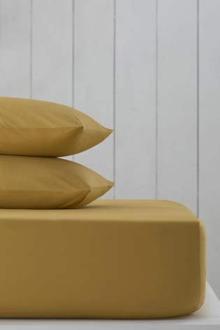 Mustard Yellow Cotton Rich Deep Fitted Sheet