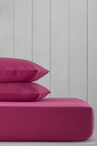Fuchsia Pink Cotton Rich Fitted Sheet