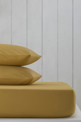 Mustard Yellow Cotton Rich Fitted Sheet