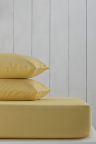 Yellow Cotton Rich Fitted Sheet