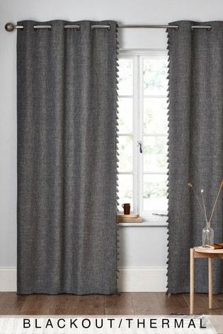 Dark Grey Textured Tassel Eyelet Blackout/Thermal Curtains
