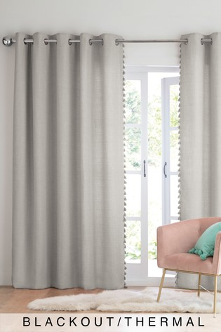 Grey Textured Tassel Eyelet Blackout/Thermal Curtains