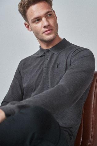 Dark Grey Long Sleeve Pique Polo Shirt
