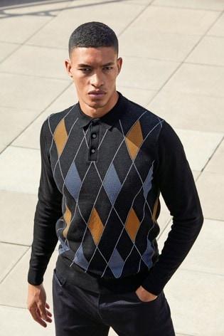 Black/Amber Argyle Large Check Zip Premium Polo