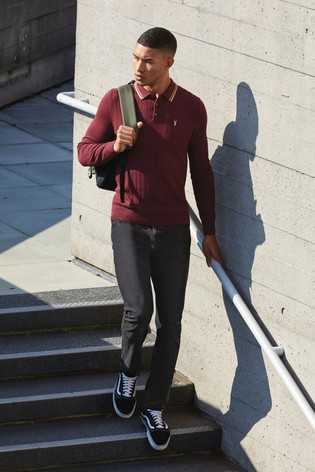 Plum Red Textured Knitted Polo