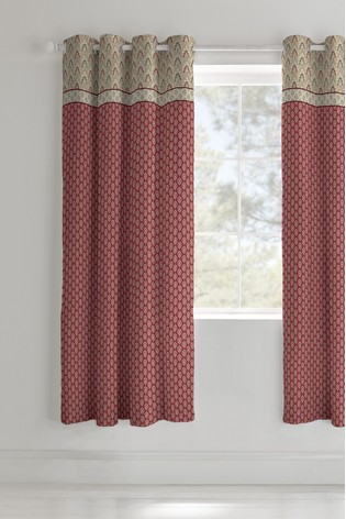 Catherine Lansfield Red Kashmir Lined Eyelet Curtains