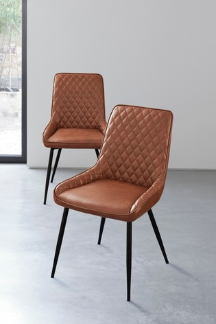 Set of 2 Hamilton Dining Chairs with Black Legs
