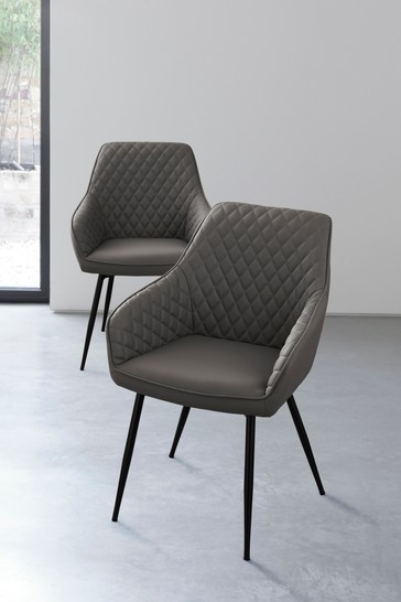 Set of 2 Hamilton Arm Dining Chairs With Black Legs