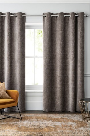 French Grey Heavyweight Chenille Eyelet Lined Curtains