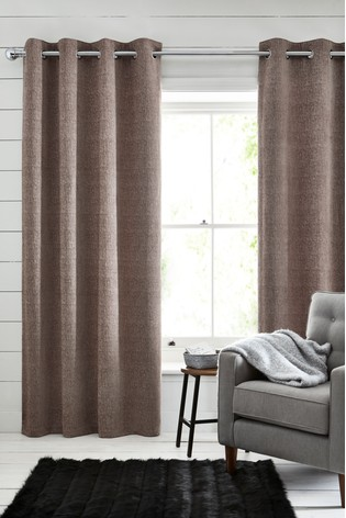 Mink Natural Heavyweight Chenille Eyelet Lined Curtains