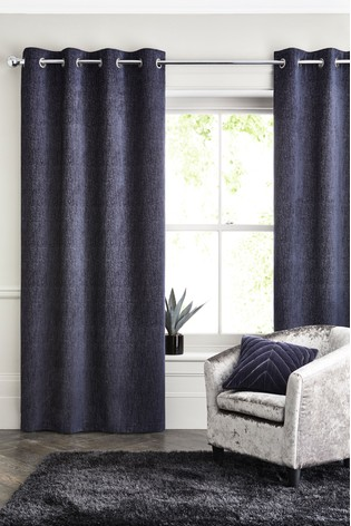 Navy Blue Heavyweight Chenille Eyelet Lined Curtains