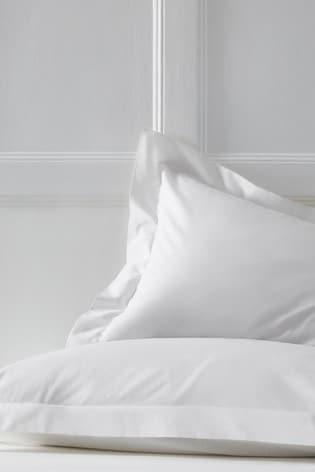 Set of 2 White Cotton Rich Pillowcases