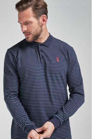 Navy Stripe Long Sleeve Pique Polo Shirt