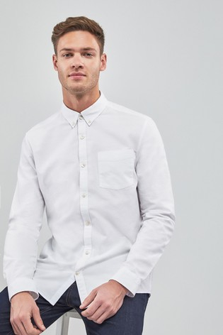 White Slim Fit Long Sleeve Oxford Shirt