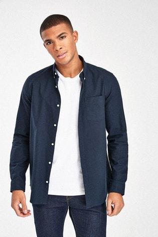 Navy Blue Slim Fit Long Sleeve Oxford Shirt