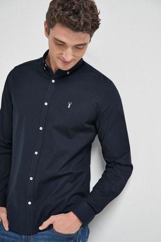 Navy Blue Regular Fit Long Sleeve Stretch Oxford Shirt