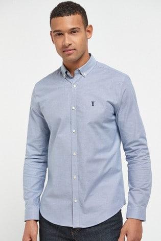 Blue Regular Fit Long Sleeve Stretch Oxford Shirt