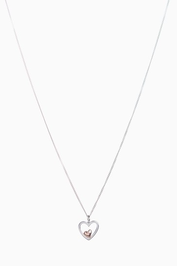 Sterling Silver Rose Gold Plated Inset Heart Necklace